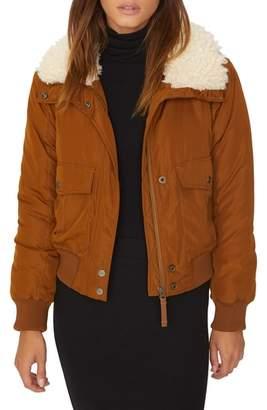 Sanctuary Aviator Faux Fur Collar Flight Jacket