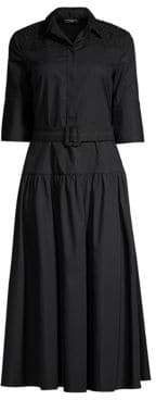 Piazza Sempione Women's Belted A-Line Shirtdress - Black - Size 40 (4)