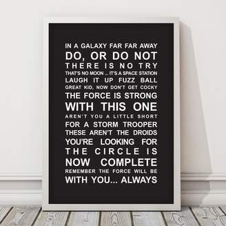 Star Wars Quotes Framed Print Size: A3,