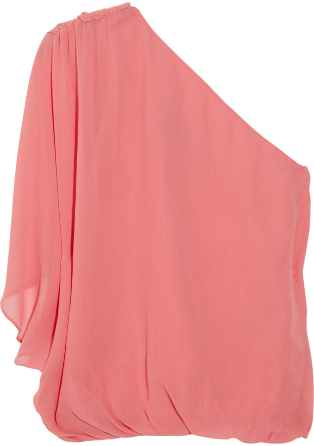 Alice + Olivia One-shoulder silk-chiffon top