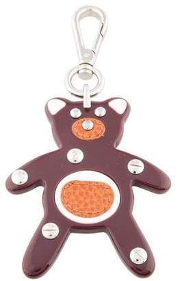 Prada Leather-Trimmed Bear Keychain