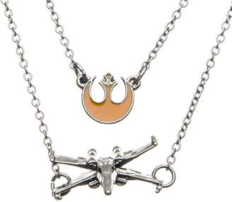 Star Wars Jewelry Women's Episode 8 Base Metal Poe Dameron X-Wing Tiered Pendant Necklace