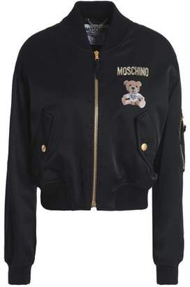 Moschino Appliqued Printed Satin-crepe Bomber Jacket