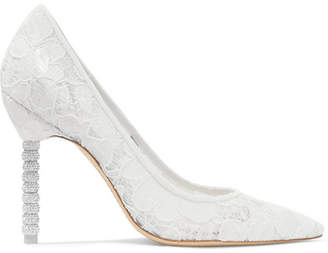 Sophia Webster Coco Crystal-embellished Lace Pumps - White