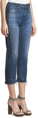 Veronica Beard Ines Cropped Straight-Leg Girlfriend Jeans W/ Rhinestones