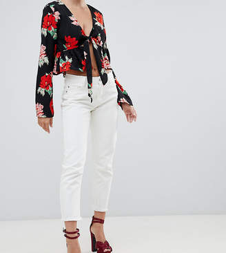 Missguided Petite wrath mom jean in white