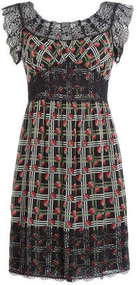 Anna Sui Printed Silk Dress with Lace Trim