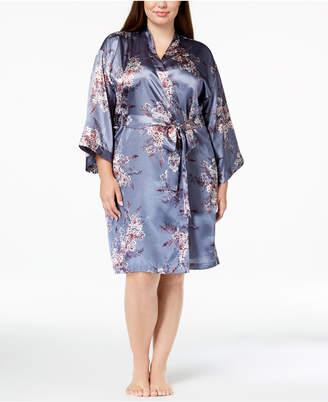 Thalia Sodi Plus Size Printed Woven Short Wrap Robe, Created for Macy's