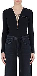 Off-White Women's Leather-Logo Lace-Up Bodysuit-Black White
