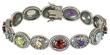JCPenney ONLINE ONLY - Multi-Gemstone Bracelet Oxidized Sterling