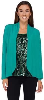 Bob Mackie Bob Mackie's Sequin Front Tank and Solid Knit Cardigan Set
