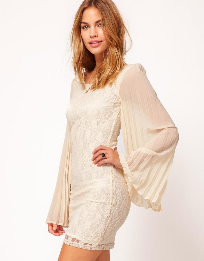 Rare Pleat Sleeve Lace Dress