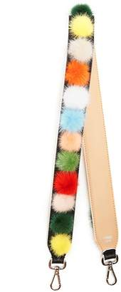 Fendi Strap You fur-pompom leather bag strap