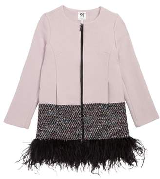 Milly Double Face Stretch Wool & Feather Coat