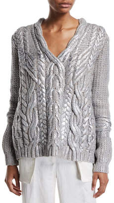 Maxime Partow Hand-Painted Cashmere Cable-Knit Sweater