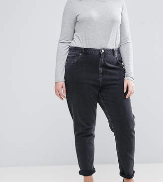 Asos DESIGN Curve Farleigh high waist slim mom jeans in washed black
