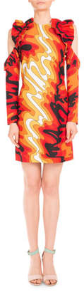 Mary Katrantzou Psychedelic-Print Ruffled Cold-Shoulder Dress, Red Waves