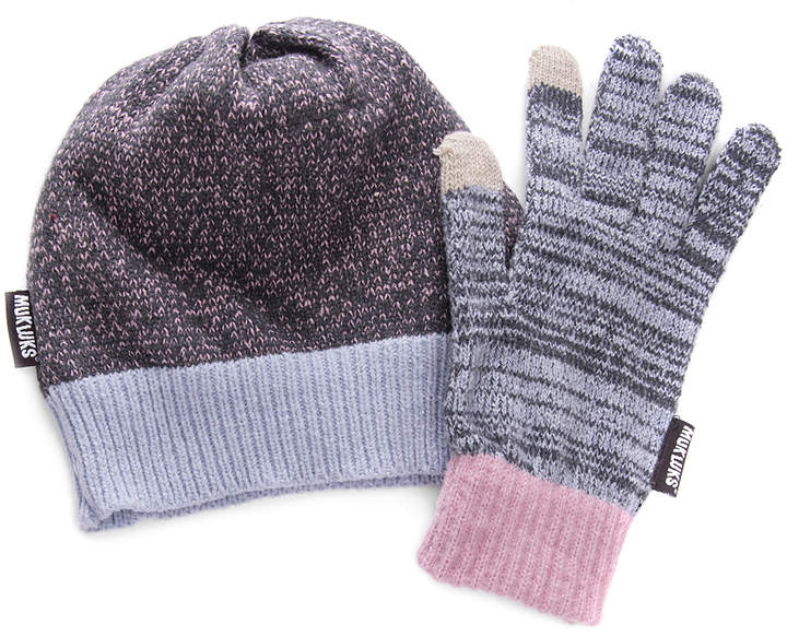 Gray & Pink Marled Beanie & Gloves