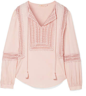 Tory Burch Marissa Broderie Anglaise Cotton-poplin Top - Pastel pink