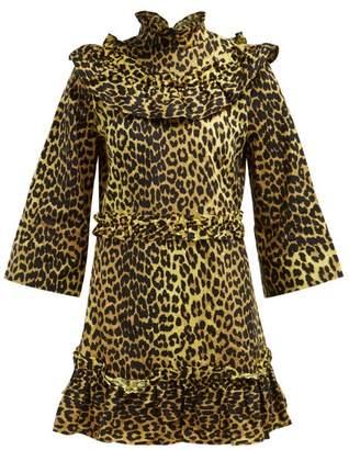 Ganni Bijou Leopard Print Cotton Mini Dress - Womens - Leopard