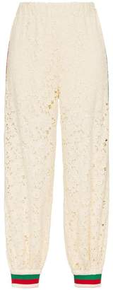 Gucci contrast cuff floral lace track pants