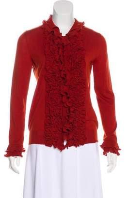 Saint Laurent Ruffled Wool Cardigan