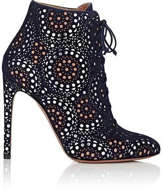 Alaia Women's Laser-Cut Suede Ankle Boots
