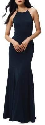 Jenny Yoo Naomi Halter Strappy-Back Flare Gown