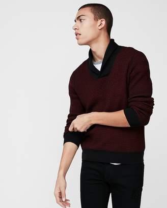 Express Waffle Shawl Collar Sweater