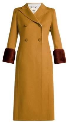 Fendi Shearling Trimmed Wool Coat - Womens - Beige