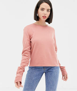 Pieces Ruched Sleeve Sweatshirt