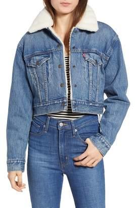 Levi's Faux Fur Lined Crop Trucker Jacket