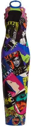 Versace Vogue-print halterneck gown