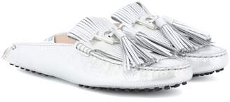 Tod's Gommino metallic leather slippers