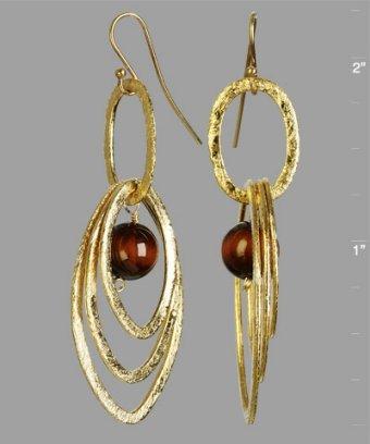 Mashka tiger's eye multi-hoop earrings