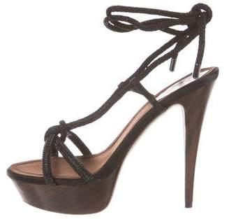 Rene Caovilla Satin Ankle Strap Sandals