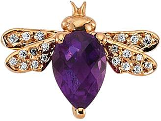 Bee Dess Rose Gold Diamond And Amethyst Queen Earring