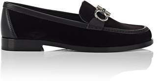 Salvatore Ferragamo Women's Bit-Embellished Velvet Loafers