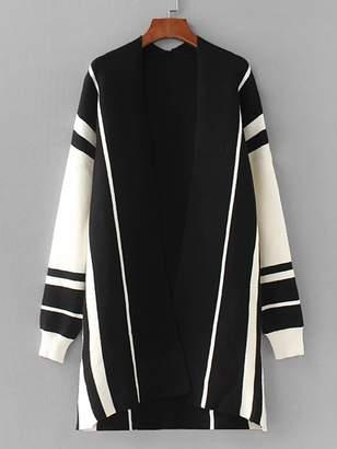 Shein Contrast Panel Drop Shoulder Cardigan