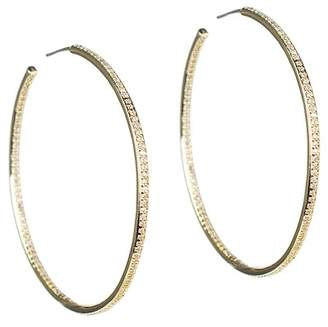 Kenneth Jay Lane CZ By 18K Yellow Gold Plated CZ Pave 76mm Hoop Earrings