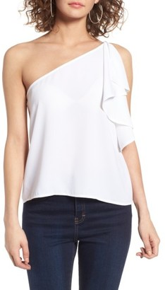 Women's Leith One-Shoulder Ruffle Tank $55 thestylecure.com