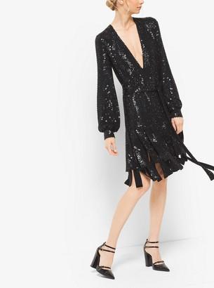 Michael Kors Sequin-Embroidered Silk-Georgette Streamer Dress