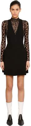 Givenchy Animalier Lace & Wool Crepe Dress