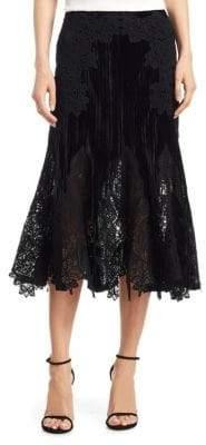 Jonathan Simkhai Velvet Lace Trumpet Midi Skirt