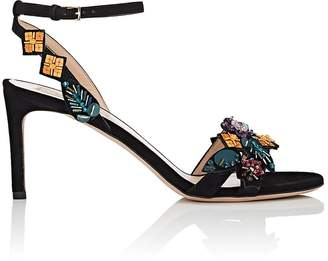 Valentino Women's Embellished Suede Ankle-Strap Sandals