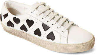 Saint Laurent White & Black Heart Leather Low-Top Sneakers