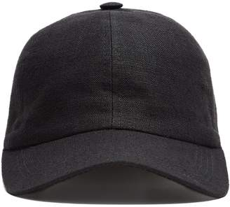 Lock and Co Hatters Lock and Co Rimini Baseball Cap In Black Linen