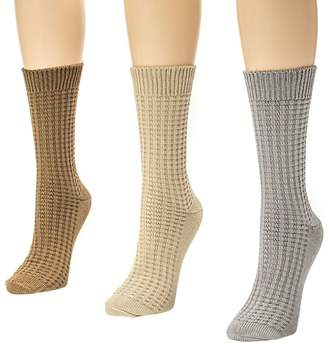 Muk Luks Women's 3-Pair Textured Crew Sock Pack