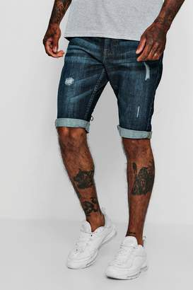 boohoo Slim Fit Denim Short With Light Distressing