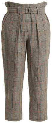 Brunello Cucinelli Check Paperbag Waist Cropped Trousers - Womens - Grey Multi